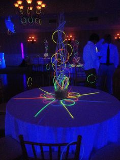 Great glowstick centerpiece for a glow party!