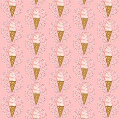 Ice Cream Fabric  Large Ice Cream Sprinkles Pink By
