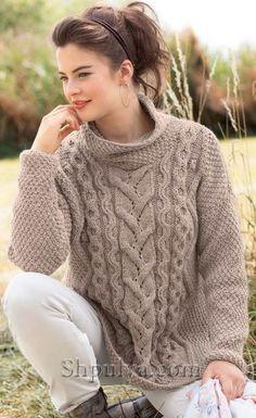 Бежевый пуловер с аранами