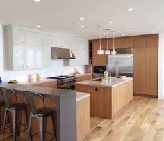 Kitchen - Rift Oak & High Gloss Cabinets - NOELLE INTERIORS - Manhattan Beach, CA
