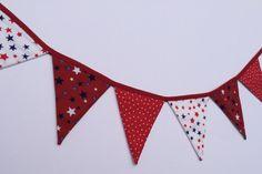 6 flag Mini Bunting Red Stars  ready for by FredasBarn on Etsy, £10.00