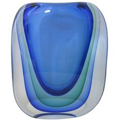 blue and green murano glass vase in sommerso technique, designer unknow / italy 1960s