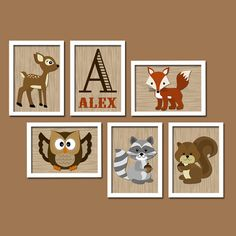 Modern Woodland Forest Animal Deer Owl Squirrel Raccoon FOX Custom Monogram Initial Name Set of 6 Prints WALL ART Gallery Baby Nursery Decor... could do some paintings for frames on burlap and frame?