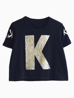 Sequined K Crop T-shirt in Black