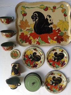 "Vintage 1939 Ohio Art tin-litho child's toy tea set ""Squirrels"" #OhioArt"