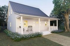 Metal Building Cottage House for Comfy Living (+FREE Blueprint Plans) | Metal-Building-Homes.com Small Cottage Plans, Small Cottage House Plans, Cottage Kits, Small Cabin Plans, Small Country Homes, Cottage Floor Plans, Farm Cottage, Small Farmhouse Plans, Small Cottage Homes