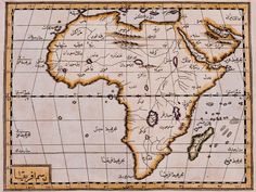 Resm-i Afrika: This map of the African continent in the Book of Jihannuma is done in the manner of Mercator, with the lines of latitude and longitude intersecting at right angles. From Katib Celebi's The book of Jihannuma published by Ibrahim Muteferrika. Vintage Maps, Antique Maps, Islam And Science, Social Science, African Map, Out Of Africa, East Africa, Country Maps, Alien Creatures