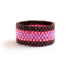 Simple bamd ring for her Colorful womens ring Hippie ring Boho fashion artisan ring Seed beaded ring Peyote ring Summer ring Thumb ring band