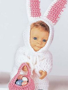 Easter Bunny Baby Doll Costume Free Pattern from Free-Crochet.com