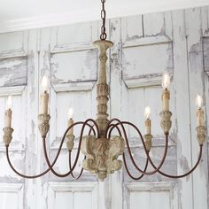 Aged Cottage Chic Chandelier - 6 Light - Shades of Light French Country Chandelier, Farmhouse Chandelier, White Chandelier, Rustic Chandelier, Chandelier Shades, Farmhouse Lighting, Chandelier Lighting, Rustic Farmhouse, Vintage Chandelier