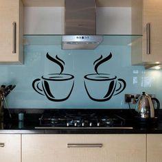 Kitchen Coffee Cups Vinyl Wall Art Sticker by MTEnterprisesVinyl