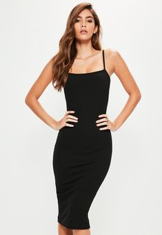 Missguided - Black Square Neck Midi Dress