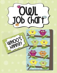 "Create a colorful and creative Job Chart for your classroom using the Tree Branches, Leaves, and Owls included in this Job Chart pack. A sample page is included to offer an example for assembly. There are two size options for the ""WHOO's Helping?"" sign: letter (8.5""x11"") and legal size (8.5""x14"").There are also two size options for the tree branches, on which the owl ""helpers"" will be placed:  legal size (8.5""x14"") and 11""x17""."