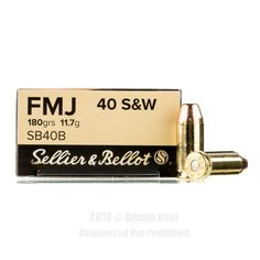 Sellier and Bellot 40 cal Ammo - 1000 Rounds of 180 Grain FMJ Ammunition #40Cal #40CalAmmo #SellierandBellot #SellierandBellotAmmo #SellierandBellot40Cal #FMJ