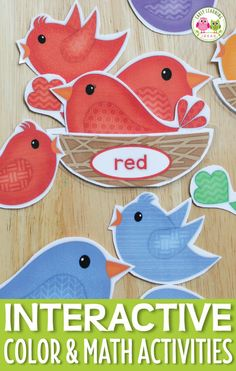 Kids can work on color sorting, counting, size sorting, and many other math and pre-,math activities with these printable birds and bird nests. The interactive color and math activity is perfect for toddler, preschool, and pre-k age children.
