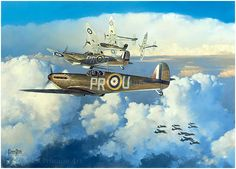"""Spitfires of 609 Squadron, Call Sign """"Sorbo"""" Attack Heinkel 111's on The…"""