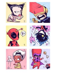 Como eram os super-heróis na infância? Arte do ilustrador Skottir Young. #illustration #art