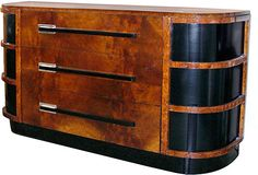 1930s Art Deco Sideboard in burl walnut and black lacquer, by Walter Teague for Hastings Mfg. Co.