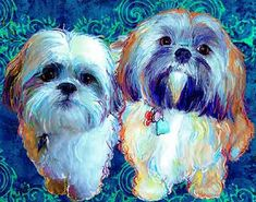 """""""Siopao and CoCo"""" (see all proofs)   Today I am going to post a few old Shih Tzu portraits  for Benny """"The Tank"""". Last week he commented tha..."""