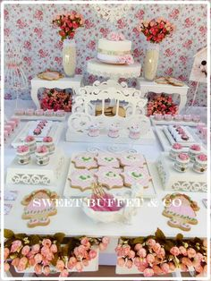 Sweet Buffet & Co 's Birthday / Shabby chic - Photo Gallery at Catch My Party Shabby Chic Birthday Party Ideas, Sweet Buffet, Girl Shower, Ideas Para, First Birthdays, Brunch, Birthday Parties, Candy, Table Decorations