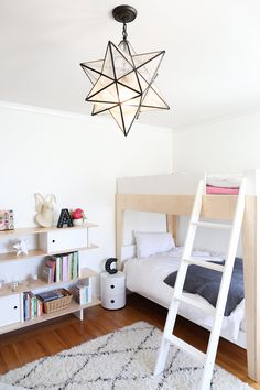 Copy Cat Chic - Boy and Girl shared kid's bedroom using neutrals, whites and lots of texture as a base for color and kid's furniture & accessories from @wayfair #ad Photo by @jetkatphoto