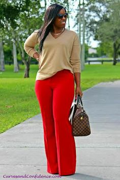 Overall look is good, but I'd need a more structure top (or add a blazer/jacklet).  Seeing LOTS of red pants this season.  Can't imagine having more than one in my wardrobe in this color.