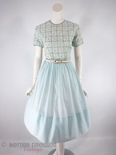 Vintage 50s Early 60s Light Blue Embroidered Full Skirt Dress - sm, med by Better Dresses Vintage