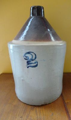 Antique Stoneware 2 Tone 2 Gallon Salt Glaze Whiskey Jug Crock. Great price!