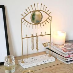 Jewellery Stand And Mirror With Terrazzo Base By Lisa Angel | notonthehighstreet.com Marble Jewelry, Brass Jewelry, Modern Jewelry, Contemporary Jewellery, Jewelry Hanger, Jewelry Stand, Jewelry Booth, Necklace Hanger, Terrazzo