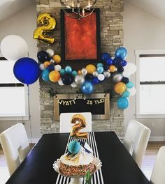 Balloon themed birthday party, two year old birthday, boy birthday party, balloon arch, modern birthday, blue birthday decor