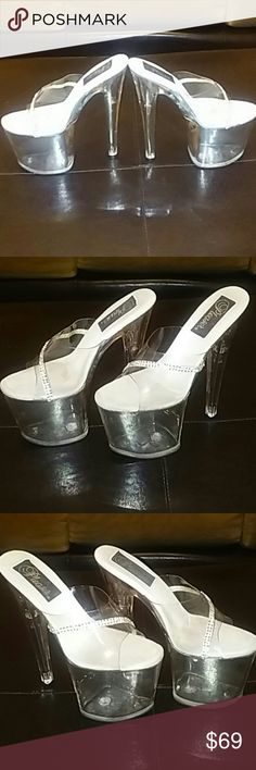 """Pleaser 8"""" platform stelletoes Pleaser 8"""" stelletoes on 4"""" platform all clear on white with rhinestone crystals. Very sexy and hot!  Pleaser Shoes Platforms"""