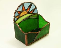 Stained Glass Sunrise Business Card Holder by FallingMoonCreations Stained Glass Projects, Stained Glass Patterns, Stained Glass Art, Business Card Holders, Business Cards, Glass Jewelry Box, Glass Boxes, Glass Holders, Diy Projects