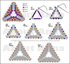 Best Seed Bead Jewelry 2017 Another Triangle schema Seed Bead Tutorials Bead Jewellery, Seed Bead Jewelry, Dainty Jewelry, Diamond Jewelry, Gold Jewelry, Beaded Earrings Patterns, Beading Patterns, Beaded Bracelets, Beading Projects