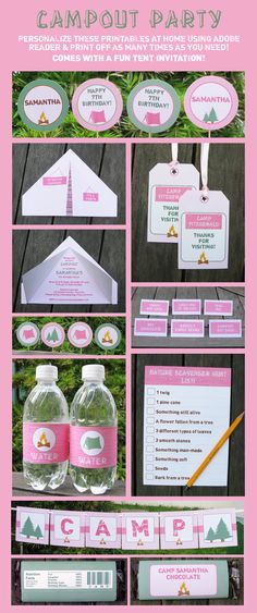 Girl Camping Birthday Party  INSTANT DOWNLOAD full by SIMONEmadeit, $14.95