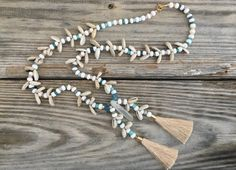 OOAK beautiful Cowrie & Pastel beads necklace with 3 quartz and two big tassels