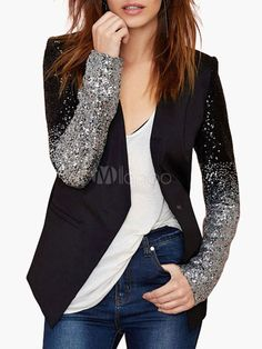 Black Sequined Blazer With PU Collar - Save Up to 70% Off on fabulous fashion trend products at Milano with Coupon and Promo Codes.