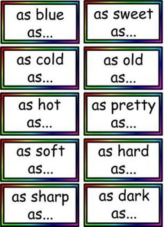 "Like! Free simile matching cards But wow is there a lot there to review.(British Literacy site with British Spelling on some items, but great op for discussing variations in ""English"" Spelling around the world). Some items are free, others need to purchase"
