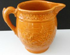 Vintage 1930s Nelson McCoy  Pottery  Water  or Milk Pitcher In Water Lily Pattern with Fish Handle Largest of Two Sizes