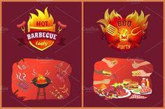Bbq Party, Burgers, Hot Dogs, Vector Art, Barbecue, Grilling, Vectors, Tasty, Hands
