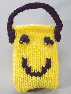 "Knit  - Happy Face iPod Holder - 2 1/2""x3 3/4"" - Medium Worsted Weight [4] Yarn"
