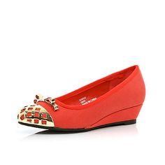 Girls red metal toe ballerina wedges