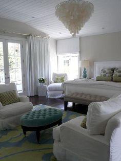 Giannetti Home - Giannetti Interiors  capiz chandelier, blue tufted oval ottoman, white ...