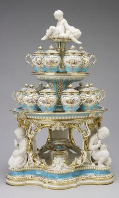 Dessert stand (jelly or cream) (from the 'Victoria' pattern dessert service) Bone china dessert stand with biscuit porcelain figures; Provenance Purchased by Queen Victoria from the stand of Minton & Co. at the Great Exhibition, Royal Collection Trust Antique China, Vintage China, Porcelain Ceramics, China Porcelain, Dessert Stand, The Royal Collection, Objet D'art, China Patterns, Fine China