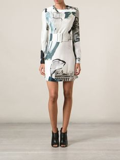 Carven Printed Belted Dress - Nugnes 1920 - Farfetch.com