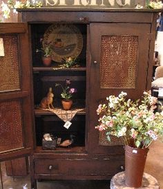 wonderful old pie safe    i think anne's is this style, with the drawer on the bottom ...