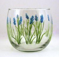 blue field flowers painted on medium votive or tea light holder
