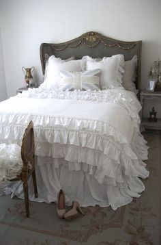 Lily Ruffle Duvet Cover    Luxury Vintage Wash Linen  Lily Ruffle Duvet Cover  Garland Button Closure    The most ruffled duvet, layers and layers of the finest linen, trimmed with a ruffled crochet edge.  Colors Available:  White  Fog (Gray-Blue)