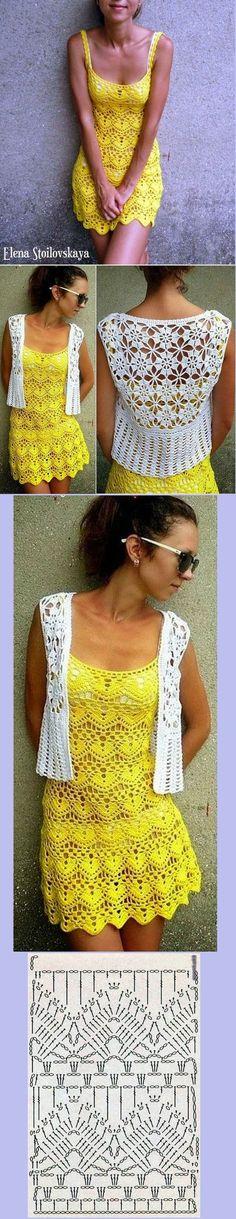 Vestido de crochê amarelo e casaco em motivos de crochê branco. Lindos demais!