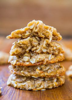 Chewy Oatmeal Coconut Brown Sugar Cookies Anzac Biscuits ~ Soft, Chewy, Easy, No-Egg, No-Mixer Cookie Recipe Check out the tasty gluten free dessert simply for you . Egg Free Recipes, Cookie Recipes, Dessert Recipes, Healthy Recipes, Delicious Recipes, Baking Recipes, Delicious Cookies, Coconut Recipes, Candy Recipes