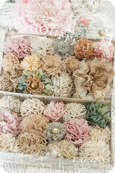 """DIY:: Doily, Lace, And Vintage Flower Tutorials ! You Now Have No Excuse - to Not """"Shabby Up"""" any Decor :): flowers diy Handmade Flower Tutorials: 37 Inspiring Flower Projects Fleurs Style Shabby Chic, Flores Shabby Chic, Shabby Chic Crafts, Vintage Crafts, Handmade Flowers, Diy Flowers, Vintage Flowers, Fabric Flowers, Fabric Flower Tutorial"""
